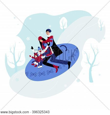 Happy Family Slide Down The Hill Sitting On The Snow Tube. Dad, Mam, Daughter And Son Spend Winter H