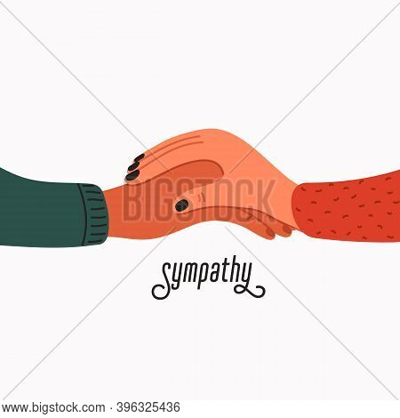 Compassion. Empathy And Compassion Icon - Womans Hand Holding Man S.