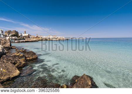 Panorama Of Monopoli In Metropolitan City Of Bari And Region Of Apulia (puglia). On The Background T