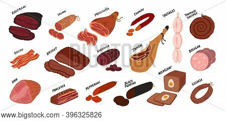 Meat Delicatessen Set. Sausages And Meat Deli Delicatessen From All Over The World