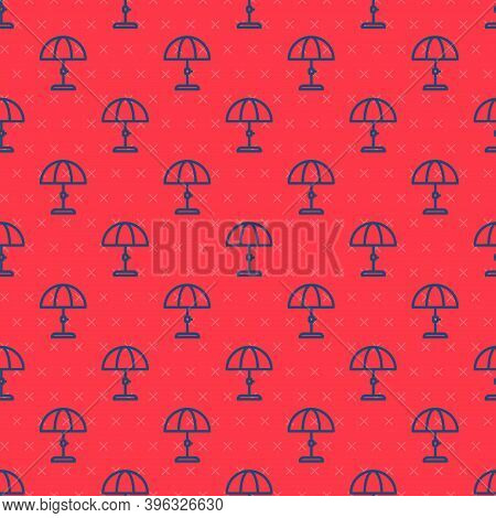 Blue Line Sun Protective Umbrella For Beach Icon Isolated Seamless Pattern On Red Background. Large