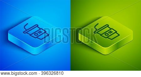 Isometric Line Paper Glass With Drinking Straw And Water Icon Isolated On Blue And Green Background.