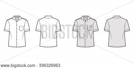 Shirt Camp Technical Fashion Illustration With Short Sleeves, Angled Patch Pocket, Relax Fit, Button