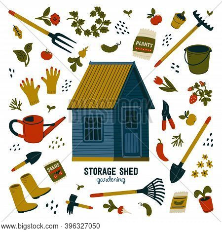 Storage Shed. Blue Storage Shed And Different Types Of Tools For Gardening And Landscaping