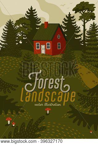 Forest Landscape. Woods Landscape With Red Cabin