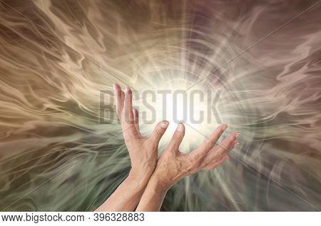 High Resonance Healing Energy Concept Background - Female Hands Sensing Vibrant Radiating Healing En