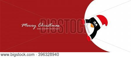Cute Penguin Looks Around The Corner Funny Christmas Design Vector Illustration Eps10