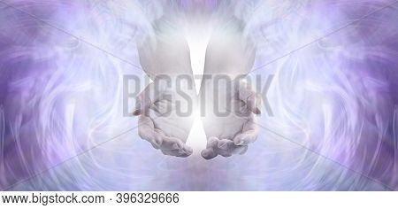 Sending You Pure Unconditional Love And Spiritual Healing Energy - Female Cupped Hands Emerging From