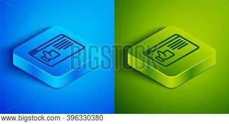 Isometric Line Browser Window Icon Isolated On Blue And Green Background. Square Button. Vector