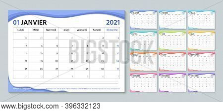 French 2021 Planner. Calendar Template. Week Starts Monday. Vector. Calender Layout With 12 Month. T