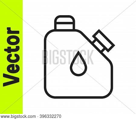 Black Line Canister For Flammable Liquids Icon Isolated On White Background. Oil Or Biofuel, Explosi