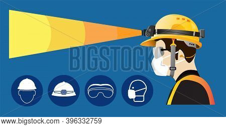 Safety Equipment With Headlamp , Construction Concept, Yellow Safety Hard Hat And Headlights . Vecto