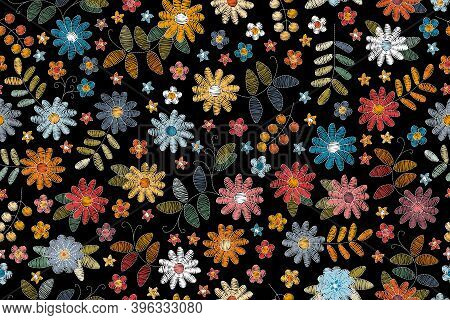 Embroidery Seamless Pattern With Beautiful Flowers On Black Background. Colorful Floral Design For F