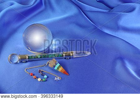 Fortune Telling Dowsing Shaman Message Banner - Cavansite Crystal Wand, Clear Crystal Ball And Chakr