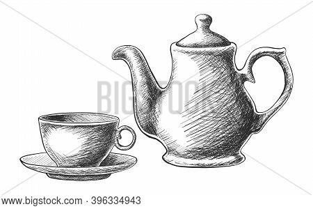Vector Hand Drawn Tea Set With Teapot And A Cup. Isolated On White Background.
