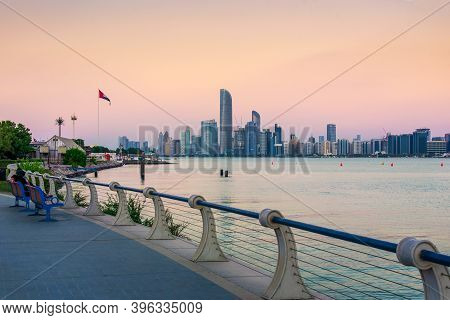 Abu Dhabi, United Arab Emirates - November 2, 2020:abu Dhabi Downtown Waterfront Skyline View At Sun