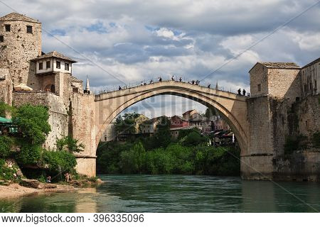 Mostar, Bosnia And Herzegovina - 04 May 2018: Stari Most - The Old Bridge In Mostar, Bosnia And Herz