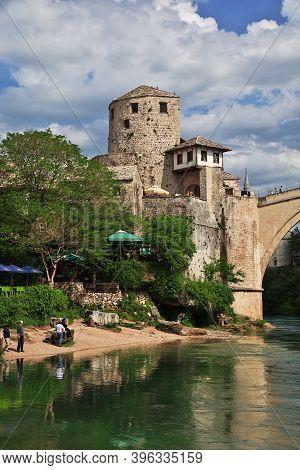 Mostar, Bosina And Herzegovina - 04 May 2018: Stari Most - The Old Bridge In Mostar, Bosnia And Herz