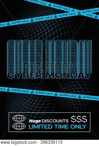 Cyber Monday Blue Typography Banner, Poster Or Flayer Template. Creative Fading Grid Background Conc