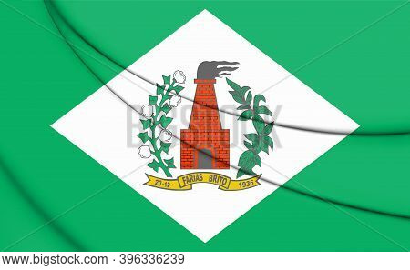 3d Flag Of Farias Brito (ceara), Brazil. 3d Illustration.