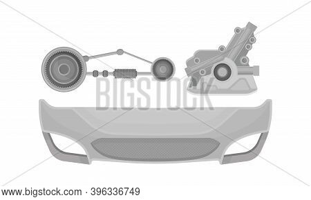 Car And Auto Spare Parts With Transmission Gearbox Vector Set