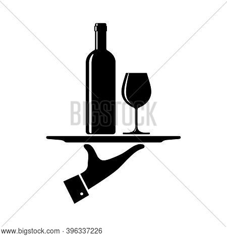 Serving Wine Graphic Icon. Hand Waiter Serving Wine On Tray Sign Isolated On White Background. Vecto
