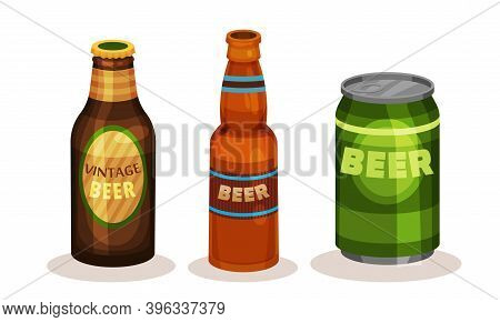 Cold Beer Poured In Can And Glass Closed Bottle Vector Set
