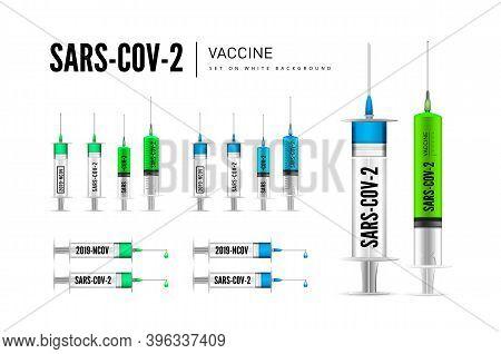Syringe With Coronavirus Drug. Sars-cov-2, Covid-2019. Vector 3D Illustration
