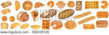 Big set of freshly baked bread products isolated on white background