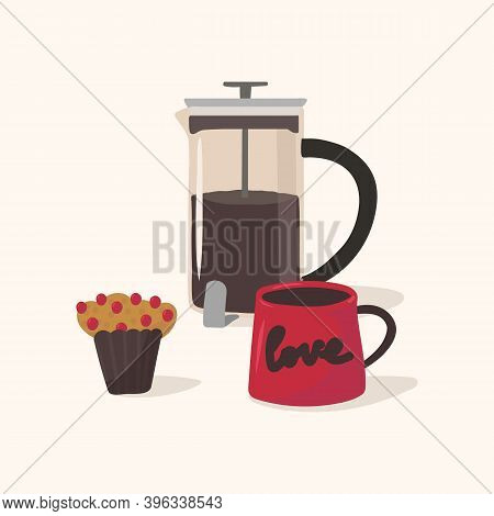 Coffee With Muffins Poster. Illustration Of Coffee Drinks With Dessert For Cafe Or Cooking. Hand Dra