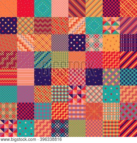 Bright Colorful Patchwork Pattern From Square Patches. Multicolor Print For Fabric And Textile. Quil