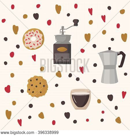Illustration Of Coffee Symbols And Various Desserts. Background For A Cafe Or Restaurant. Hand Drawn