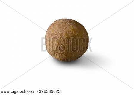 Arancini, Italian Street Food. Fried Balls, Made Of Rice, Meat And Vegetables On A White Background