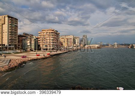 Durres, Albania - 08 May 2018: The Waterfront Of Of The Adriatic Sea In Durres, Albania