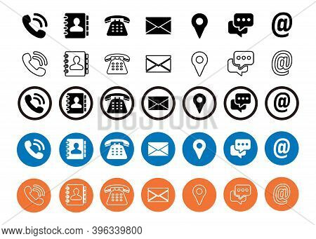 Icon Set Vector. Business Card Vector Symbols Collection. Phone Icon, Contact Icon, Mail Icon, Locat