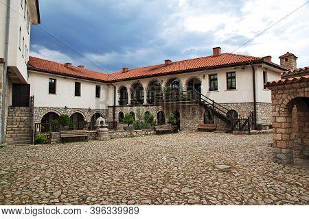 Orchid, Macedonia - 09 May 2018: Sant Naum Monastery In Macedonia, Balkans