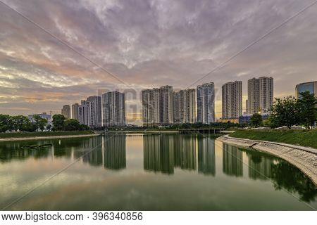 Cityscape Of Hanoi Skyline At Thanh Xuan Park During Sunset Time In Hanoi City, Vietnam
