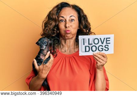 Middle age hispanic woman holding chihuahua dog and paper with i love dogs phrase puffing cheeks with funny face. mouth inflated with air, catching air.