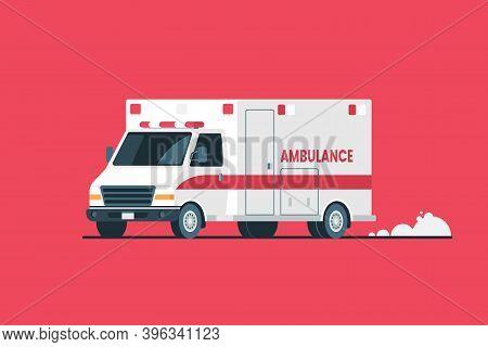 Ambulance Car Vector Illustration. White Ambulance Isolated On Red Background. Emergency Medical Car