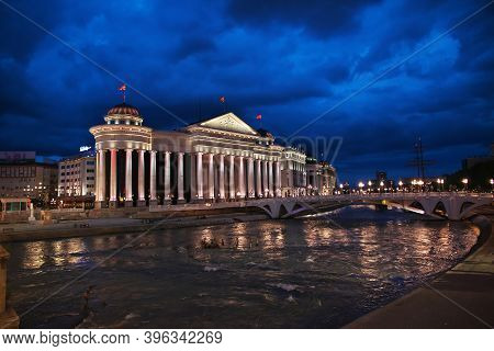 Skopje, Macedonia - 10 May 2018: The Vintage Bridge In Skopje At Night, Macedonia, Balkans