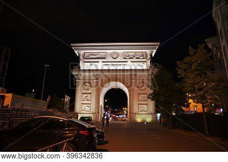 Skopje, Macedonia - 10 May 2018: The Triumphal Arch In Skopje, Macedonia, Balkans