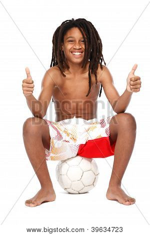 Successful Young Rasta Teenager With Thumbs Up