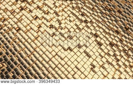 gold colored mosaic with cubic geometric shapes, diagonal orientation. 3d render.