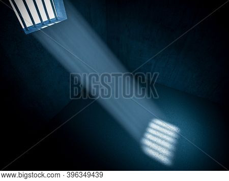 interior of a prison, rays of light coming from a barred window. concept of freedom and constraint. 3d render.