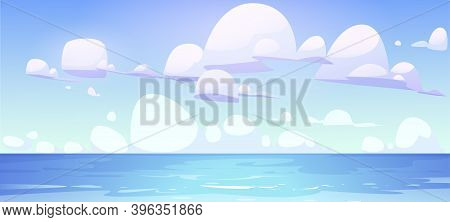 Sea Landscape With Calm Water Surface And Clouds In Blue Sky. Vector Cartoon Illustration Of Ocean B