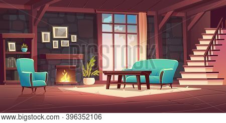 Luxury Old Living Room Interior With Burning Fireplace On Stone Wall, Classic Style Furniture, Couch
