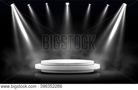 Round Podium, Empty Stage Illuminated By Spotlights. Vector Realistic Mockup Of Circular Platform, W