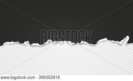 Piece Of Torn Black Paper Is On White Transparent Background For Text, Advertising Or Design. Vector