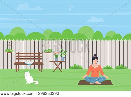 Young Woman Meditating In Nature.  The Female Character Is Sitting In The Lotus Position. Woman Doin