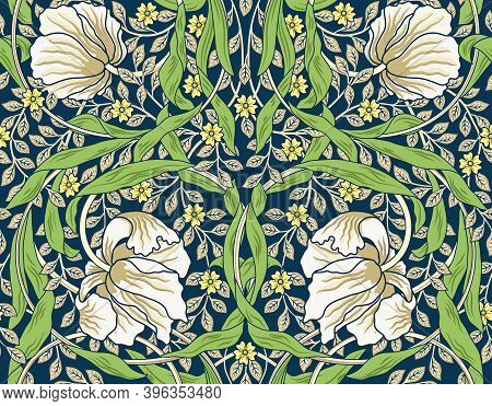Vintage White Flowers And Green Foliage Seamless Ornament. Middle Ages Style William Morris. Vector